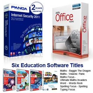 Panda Internet Security 2011, Ability Office, 6 Educational Software all on a 2GB USB